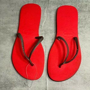 Havaianas Red/Brown Two Tone Rubber Flexible Slim